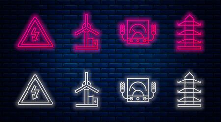 Set line Wind turbine, Ampere meter, multimeter, voltmeter, High voltage sign and High voltage power pole line. Glowing neon icon on brick wall. Vector