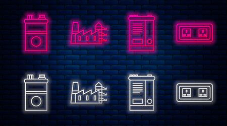 Set line Power station plant and factory, Car battery, Car battery and Electrical outlet. Glowing neon icon on brick wall. Vector