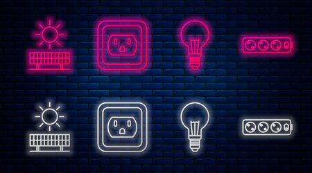 Set line Electrical outlet in the USA, Light bulb with concept of idea, Solar energy panel and sun and Electric extension cord. Glowing neon icon on brick wall. Vector