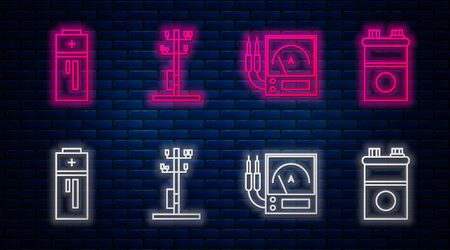 Set line High voltage power pole line, Ampere meter, multimeter, voltmeter, Battery and Car battery. Glowing neon icon on brick wall. Vector Vector Illustration