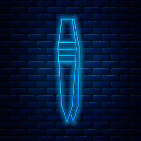Glowing neon line Tweezers icon isolated on brick wall background. Vector Illustration