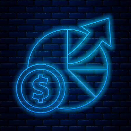 Glowing neon line Money and diagram graph icon isolated on brick wall background. Financial analytics, budget planning, finance managemen. Vector Illustration 일러스트