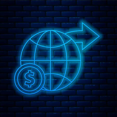 Glowing neon line Earth globe with dollar symbol icon isolated on brick wall background. World or Earth sign. Global internet symbol. Geometric shapes. Vector Illustration