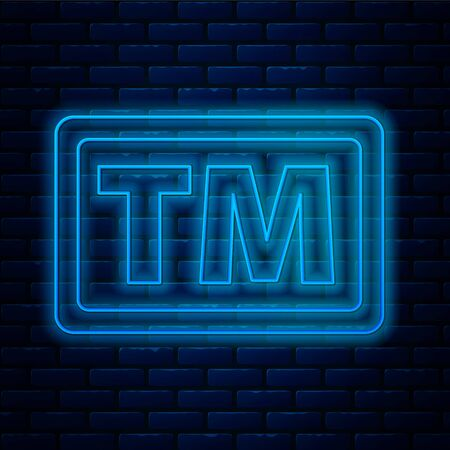 Glowing neon line Trademark icon isolated on brick wall background. Abbreviation of TM. Vector Illustration Vector Illustration