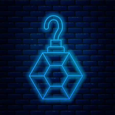 Glowing neon line Earring icon isolated on brick wall background. Jewelry accessories. Vector Illustration Vector Illustration