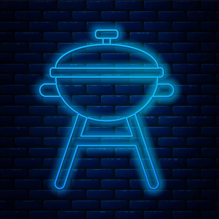 Glowing neon line Barbecue grill icon isolated on brick wall background. BBQ grill party. Vector Illustration