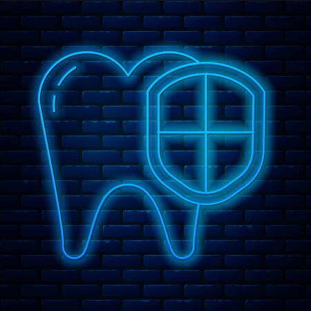 Glowing neon line Dental protection icon isolated on brick wall background. Tooth on shield logo. Vector Illustration