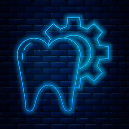 Glowing neon line Tooth treatment procedure icon isolated on brick wall background. Tooth repair with gear. Vector Illustration