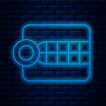 Glowing neon line Dentures model icon isolated on brick wall background. Dental concept. Vector Illustration Stock Illustratie