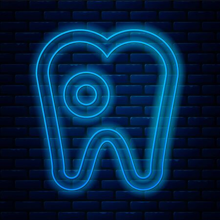 Glowing neon line Tooth with caries icon isolated on brick wall background. Tooth decay. Vector Illustration Stock Illustratie