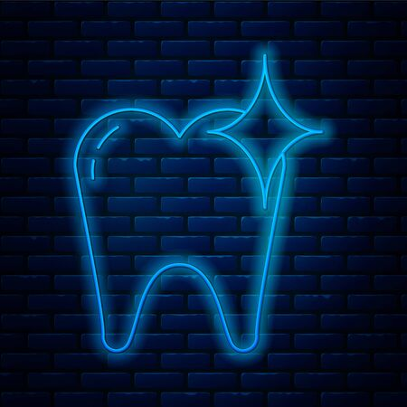 Glowing neon line Tooth whitening concept icon isolated on brick wall background. Tooth symbol for dentistry clinic or dentist medical center. Vector Illustration