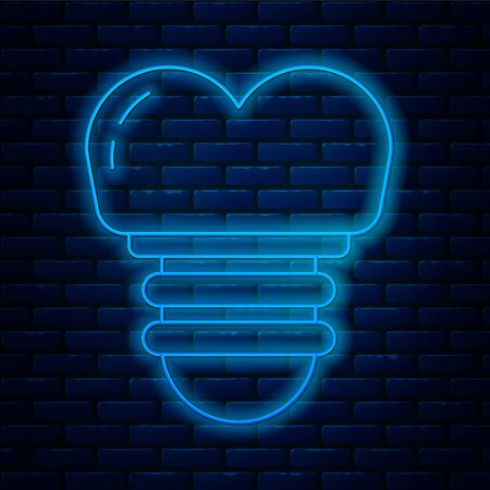 Glowing neon line Dental implant icon isolated on brick wall background. Vector Illustration 向量圖像