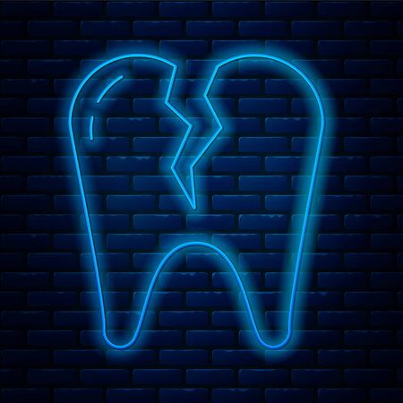 Glowing neon line Broken tooth icon isolated on brick wall background. Dental problem icon. Dental care symbol. Vector Illustration Stock Illustratie