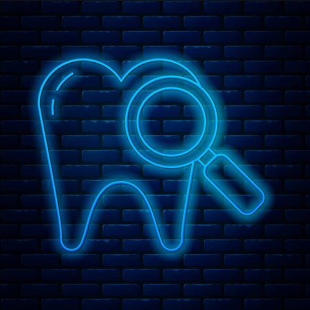 Glowing neon line Dental search icon isolated on brick wall background. Tooth symbol for dentistry clinic or dentist medical center. Vector Illustration Stock Illustratie