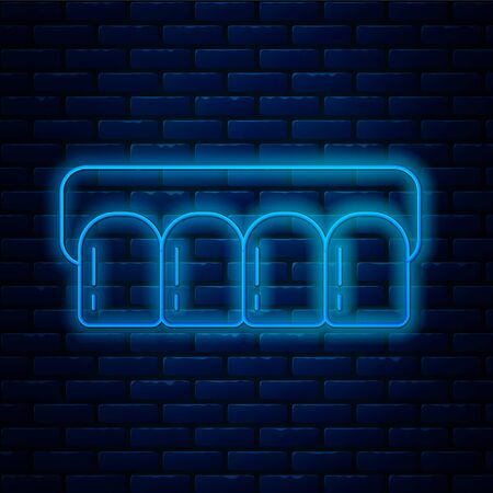 Glowing neon line Dentures model icon isolated on brick wall background. Teeth of the upper jaw. Dental concept. Vector Illustration 向量圖像