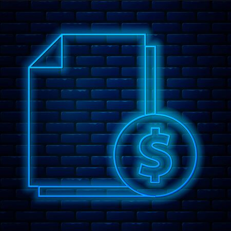 Glowing neon line Finance document icon isolated on brick wall background. Paper bank document with dollar coin for invoice or bill concept. Vector Illustration