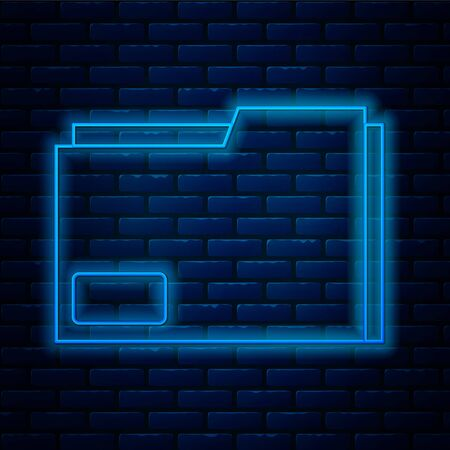 Glowing neon line Document folder icon isolated on brick wall background. Accounting binder symbol. Bookkeeping management. Vector Illustration
