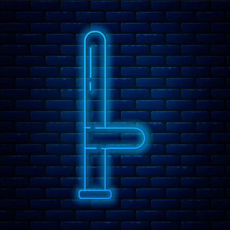 Glowing neon line Police rubber baton icon isolated on brick wall background. Rubber truncheon. Police Bat. Police equipment. Vector Illustration