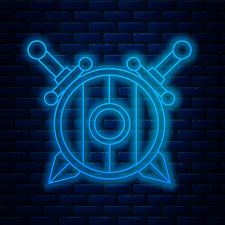 Glowing neon line Medieval wooden shield with crossed swords icon isolated on brick wall background. Vector Illustration