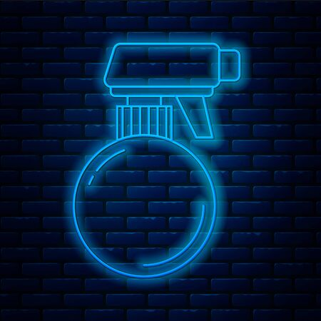 Glowing neon line Hairdresser pistol spray bottle with water icon isolated on brick wall background. Vector Illustration Ilustrace