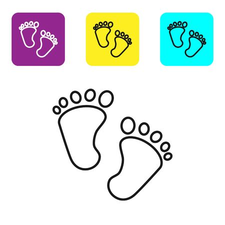 Black line Baby footprints icon isolated on white background. Baby feet sign. Set icons colorful square buttons. Vector Illustration 向量圖像