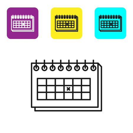 Black line Calendar icon isolated on white background. Due date. Set icons colorful square buttons. Vector Illustration Stock Illustratie