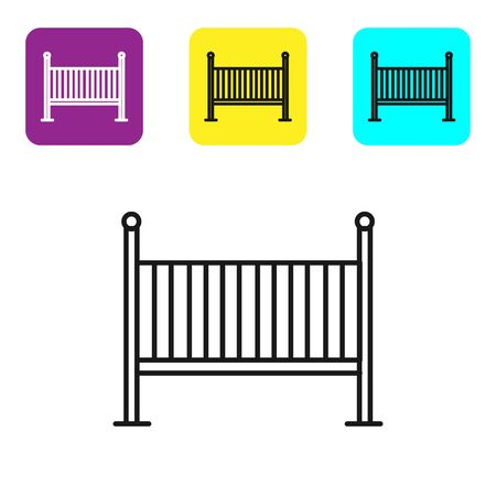 Black line Baby crib cradle bed icon isolated on white background. Set icons colorful square buttons. Vector Illustration Vektoros illusztráció