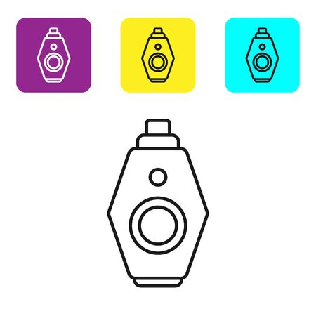 Black line Car key with remote icon isolated on white background. Car key and alarm system. Set icons colorful square buttons. Vector Illustration