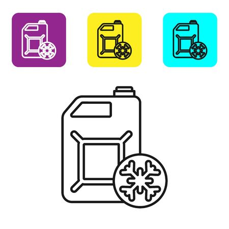 Black line Antifreeze canister icon isolated on white background. Auto service. Car repair. Set icons colorful square buttons. Vector Illustration