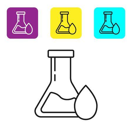 Black line Oil petrol test tube icon isolated on white background. Set icons colorful square buttons. Vector Illustration Ilustração Vetorial