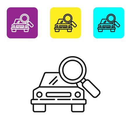 Black line Car search icon isolated on white background. Magnifying glass with car. Set icons colorful square buttons. Vector Illustration