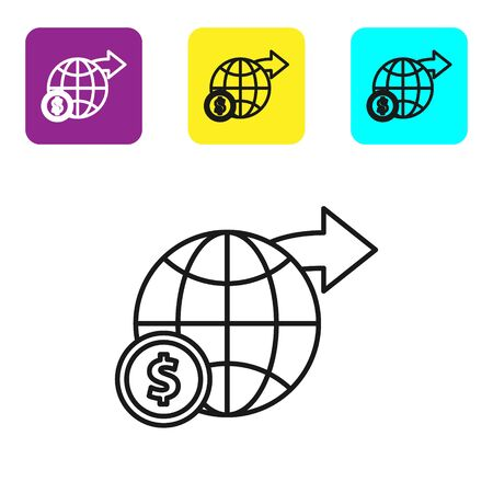 Black line Earth globe with dollar symbol icon isolated on white background. World or Earth sign. Global internet symbol. Geometric shapes. Set icons colorful square buttons. Vector Illustration 일러스트