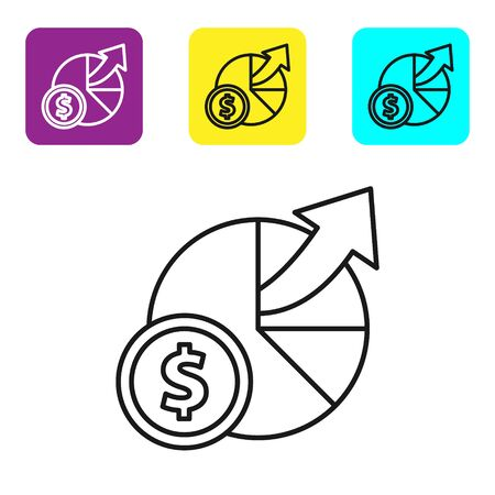 Black line Money and diagram graph icon isolated on white background. Financial analytics, budget planning, finance managemen. Set icons colorful square buttons. Vector Illustration