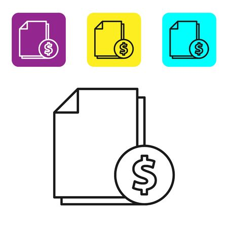 Black line Finance document icon isolated on white background. Paper bank document with dollar coin for invoice or bill concept. Set icons colorful square buttons. Vector Illustration 일러스트