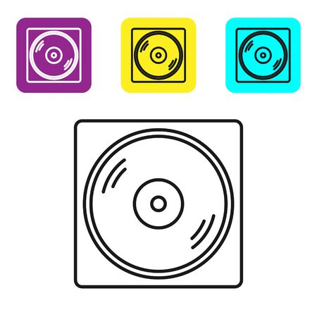 Black line Vinyl player with a vinyl disk icon isolated on white background. Set icons colorful square buttons. Vector Illustration