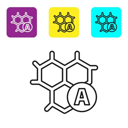 Black line Chemical formula icon isolated on white background. Abstract hexagon for innovation medicine, health, research and science. Set icons colorful square buttons. Vector Illustration Ilustrace