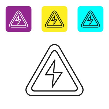 Black line High voltage sign icon isolated on white background. Danger symbol. Arrow in triangle. Warning icon. Set icons colorful square buttons. Vector Illustration Vectores
