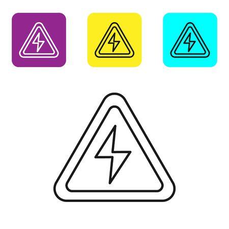 Icono de señal de alto voltaje de línea negra aislado sobre fondo blanco. Símbolo de peligro. Flecha en triángulo. Icono de advertencia. Establecer iconos coloridos botones cuadrados. Ilustración vectorial