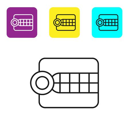 Black line Dentures model icon isolated on white background. Dental concept. Set icons colorful square buttons. Vector Illustration