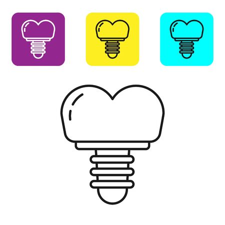 Black line Dental implant icon isolated on white background. Set icons colorful square buttons. Vector Illustration