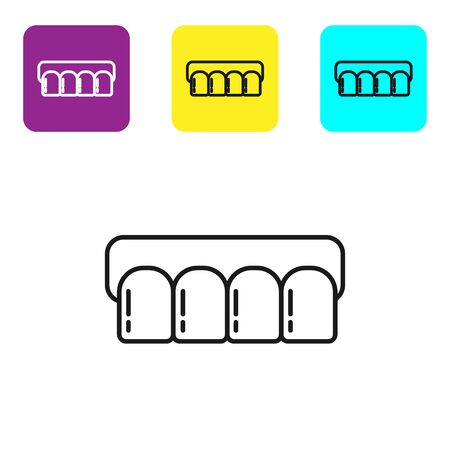 Black line Dentures model icon isolated on white background. Teeth of the upper jaw. Dental concept. Set icons colorful square buttons. Vector Illustration