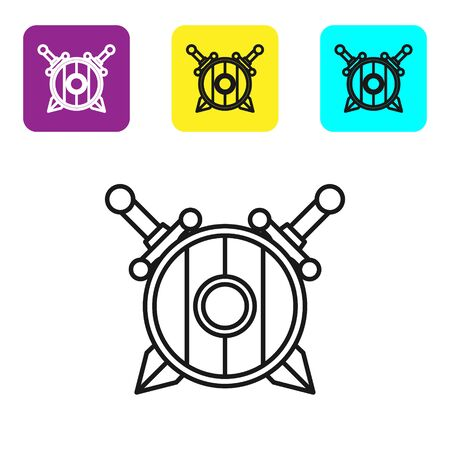Black line Medieval wooden shield with crossed swords icon isolated on white background. Set icons colorful square buttons. Vector Illustration Illustration
