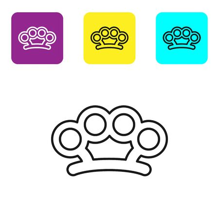 Black line Brass knuckles icon isolated on white background. Set icons colorful square buttons. Vector Illustration Vettoriali