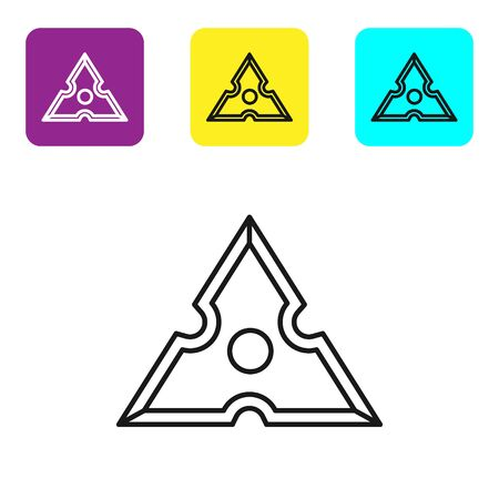 Black line Japanese ninja shuriken icon isolated on white background. Set icons colorful square buttons. Vector Illustration Ilustração