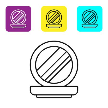 Black line Makeup powder with mirror icon isolated on white background. Set icons colorful square buttons. Vector Illustration