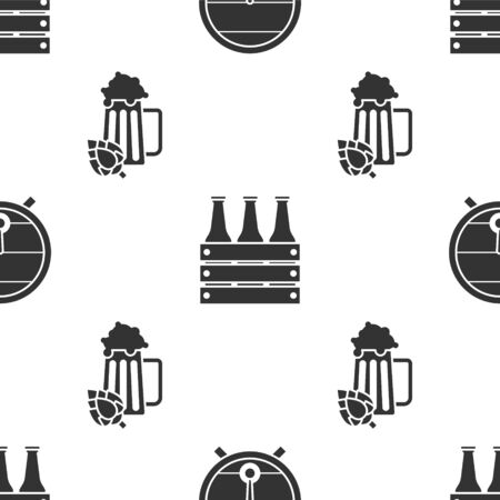 Set Wooden barrel on rack with stopcock, Pack of beer bottles and Glass of beer and hop on seamless pattern. Vector