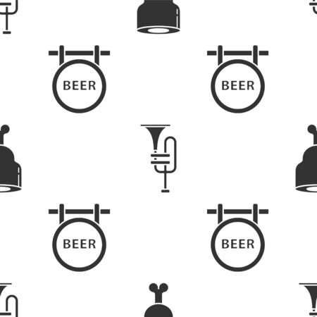 Set Chicken leg, Musical instrument trumpet and Street signboard with inscription Beer on seamless pattern. Vector
