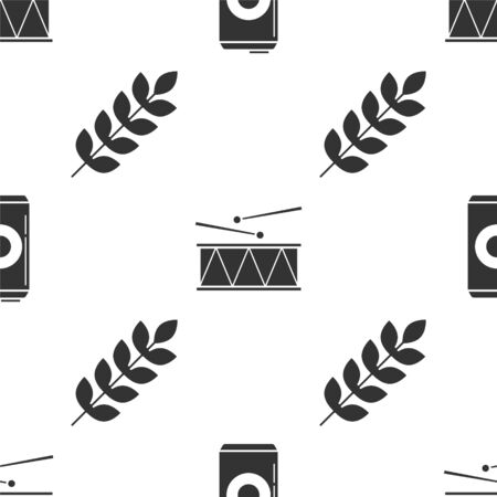 Set Beer can, Musical instrument drum and drum sticks and Cereals set with rice, wheat, corn, oats, rye, barley on seamless pattern. Vector