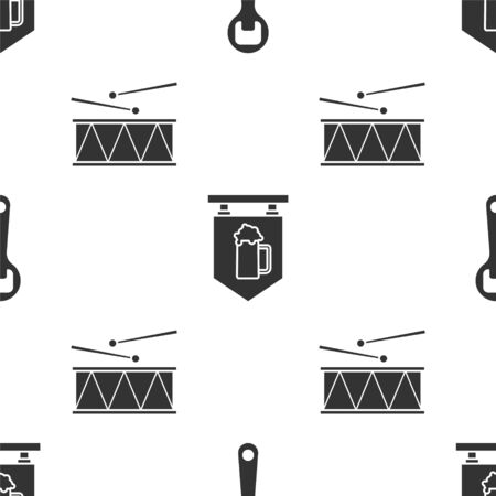 Set Bottle opener, Street signboard with glass of beer and Musical instrument drum and drum sticks on seamless pattern. Vector