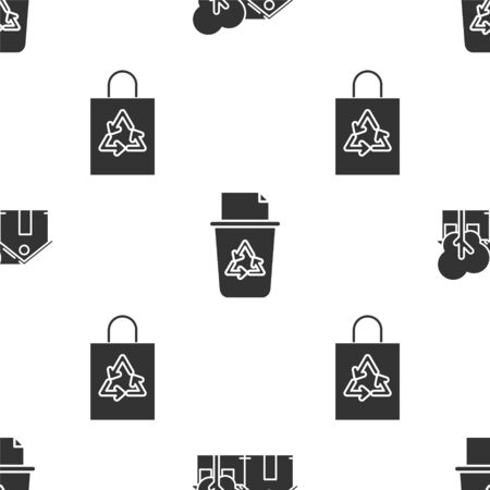 Set Eco friendly house, Recycle bin with recycle symbol and Plastic bag with recycle on seamless pattern. Vector Archivio Fotografico - 139299483